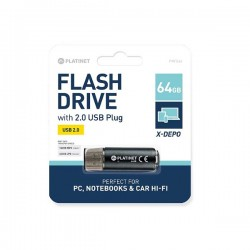 PLATINET USB 2.0  X-DEPO Flash Disk 64GB μαύρο PMFE64B